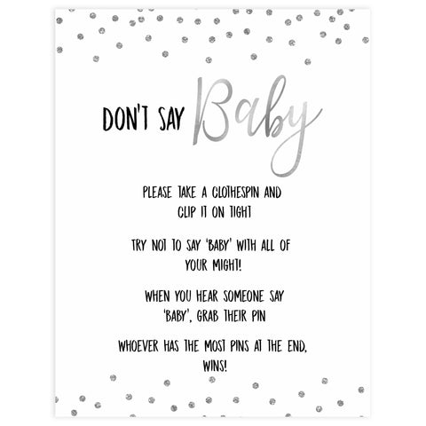 dont say baby game, Printable baby shower games, baby silver glitter fun baby games, baby shower games, fun baby shower ideas, top baby shower ideas, silver glitter shower baby shower, friends baby shower ideas