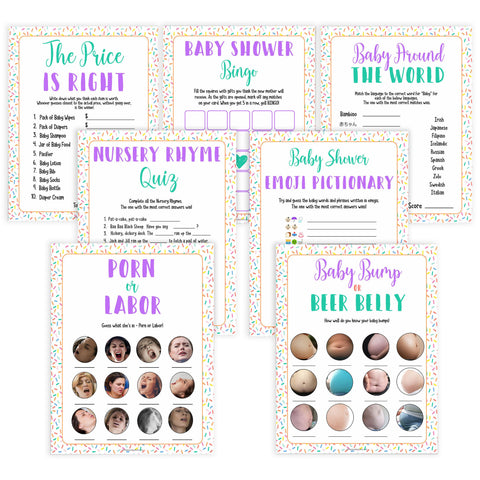 7 baby shower games, labor or porn, baby bump game, Printable baby shower games, baby sprinkle fun baby games, baby shower games, fun baby shower ideas, top baby shower ideas, sprinkle shower baby shower, friends baby shower ideas