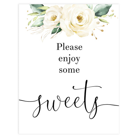 sweets baby shower table signs, White floral baby decor, printable baby table signs, printable baby decor, baby botanical table signs, fun baby signs, baby white floral fun baby table signs
