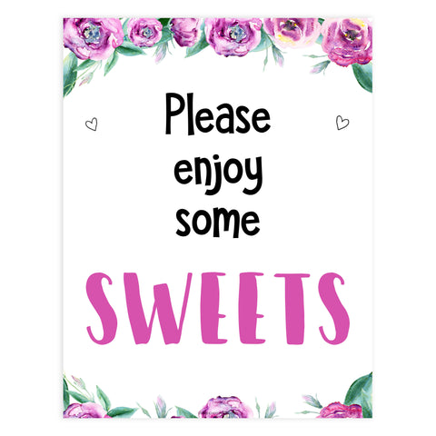 sweets baby shower decor, sweets baby signs, purple peonies baby signs, printable baby shower signs, fun baby shower ideas