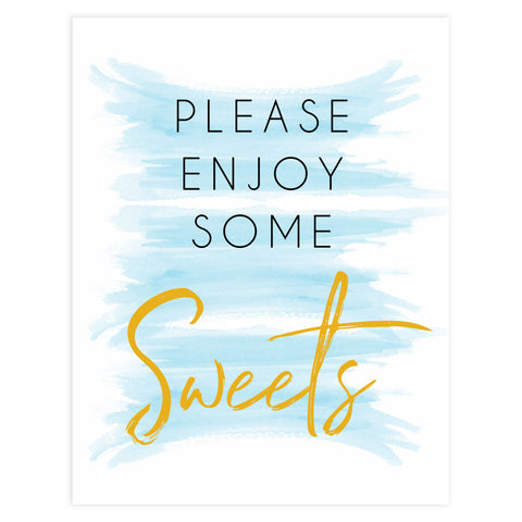 Sweets baby shower signs, printable baby shower signs, fun baby signs, blue baby shower signs