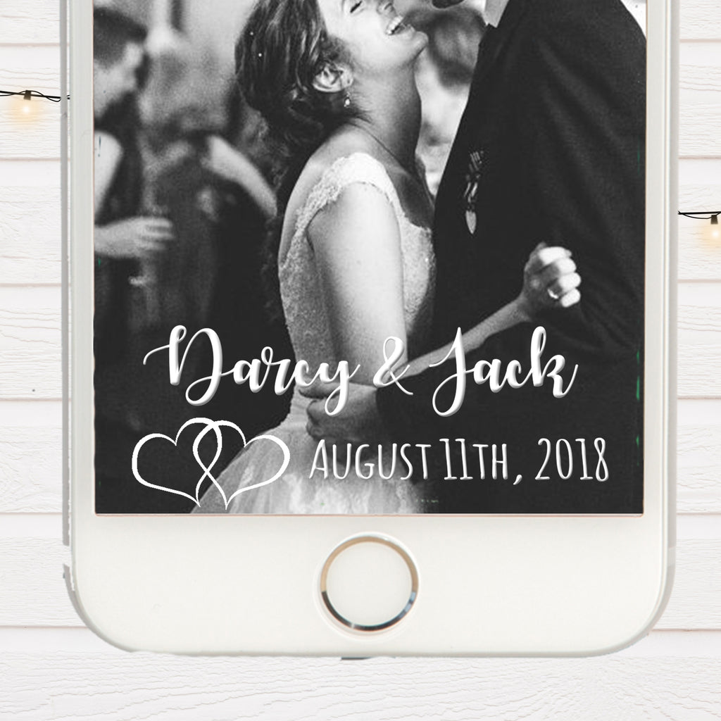 White Hearts & Silver Wedding Snapchat Filter