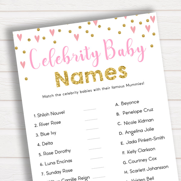 Baby Shower Game - Celebrity Baby Names in Pink