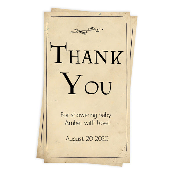 wizard baby shower thank you tags, printable baby thank you tags, editable baby shower thank you tags, harry potter baby shower tags, potter baby shower theme