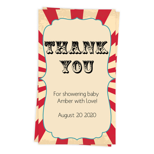baby shower thank you tags, printable baby thanks you tags, editable baby thank you tags, circus baby shower tags, carnival baby shower thank you tags