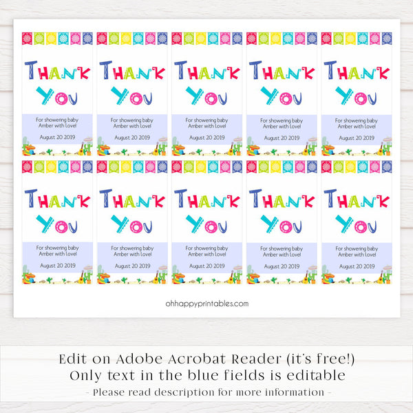 editable baby thank you tags, printable baby thank you tags,  Printable baby shower games, Mexican fiesta fun baby games, baby shower games, fun baby shower ideas, top baby shower ideas, fiesta shower baby shower, fiesta baby shower ideas