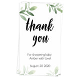 botanical baby thank you tags, printable baby shower thank you tags, editable baby thank you tags, botanical baby shower ideas, fun baby shower decor