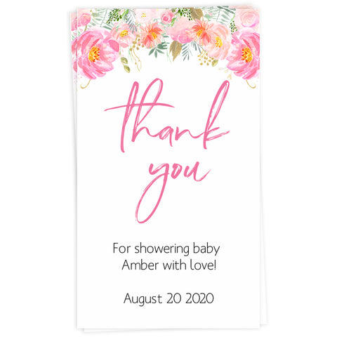 baby shower thank you tags, printable baby tags, editable thank you tags, floral baby shower, pink floral baby tags