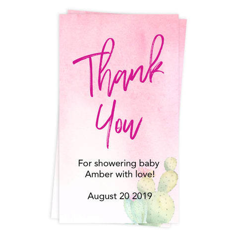 baby shower thank you tags, printable baby thank you tags, editable baby thank you tags, cactus baby thank you tags, baby fiesta thank you tags