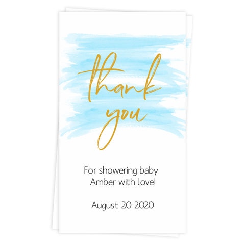 baby shower thank you tags, printable thank you tags, editable thank you tags, blue baby shower tags, blue baby shower decor, blue baby decor
