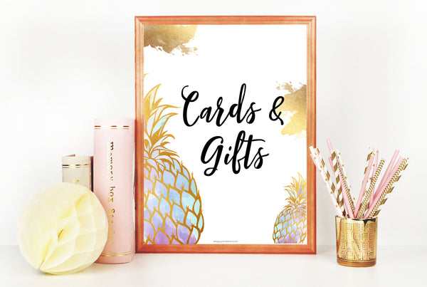 Cards & Gifts Sign - Gold Pineapple