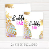 Bubbly Bar Sign - Gold Pineapple