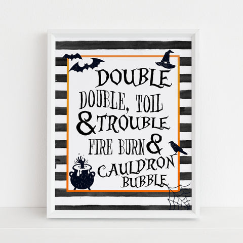 toil and trouble sign, halloween table signs, printable halloween table signs, spooky halloween decor, halloween decor