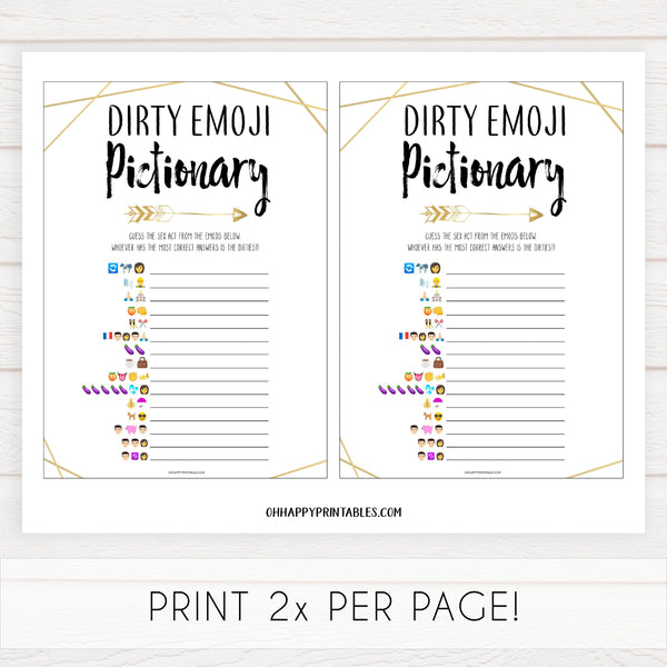 dirty emoji pictionary game, bride tribe bridal shower games, printable bridal shower games, bachelorette party games