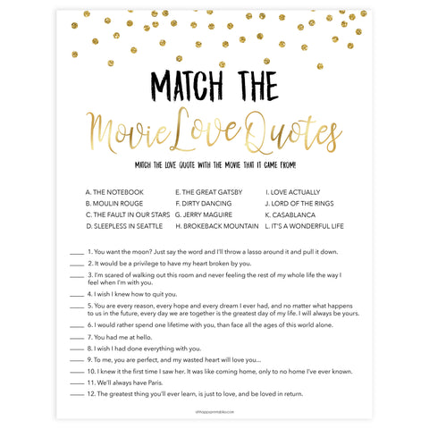 match the movie love quotes, bridal movie love quotes games, Printable bridal shower games, gold glitter bridal shower, gold glitter bridal shower games, fun bridal shower games, bridal shower game ideas, gold glitter bridal shower