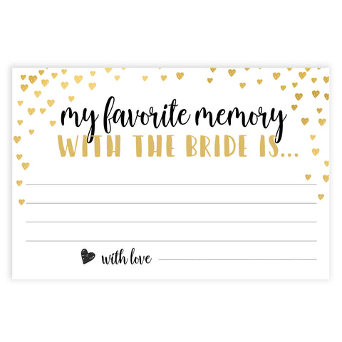 Gold hearts bridal shower games, favorite memory of the bride, printable bridal games, gold bridal games, gold hearts bridal games, fun bridal games, top bridal games, best bridal games