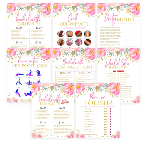 8 Bachelorette Party Games Bundle - Blush & Gold