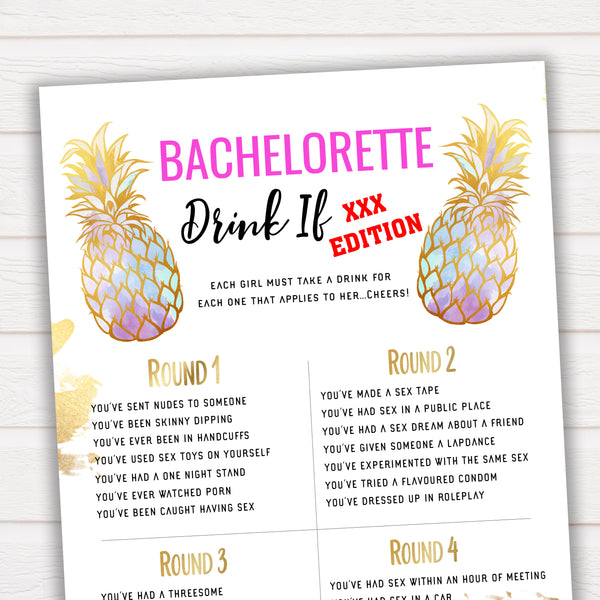 X Rated Bachelorette Drink If Game - Pineapple