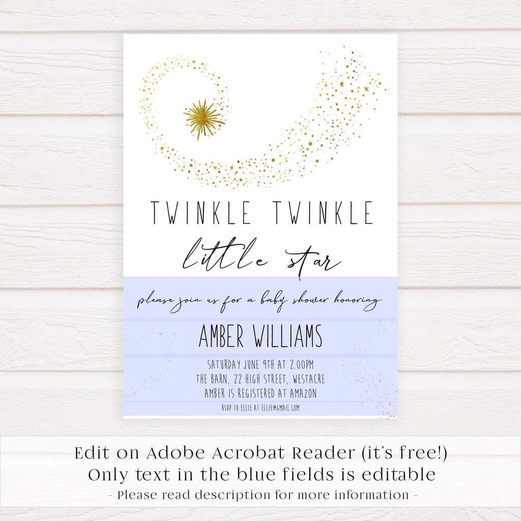 picture regarding Free Printable Twinkle Twinkle Little Star Baby Shower Invitations named Basic Twinkle Small Star Editable Invitation - Printable
