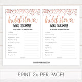 Bridal Word Scramble - Rose Gold Foil
