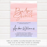 pink swash baby shower invitation, printable baby invites, baby shower invites, editable PDF baby shower invitations, pink baby invites, baby girl shower, baby shower ideas