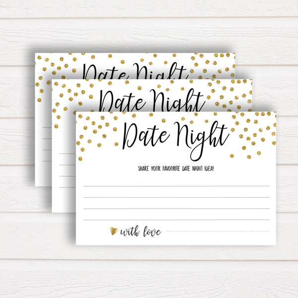Date Night Jar Bridal Game - Gold Foil