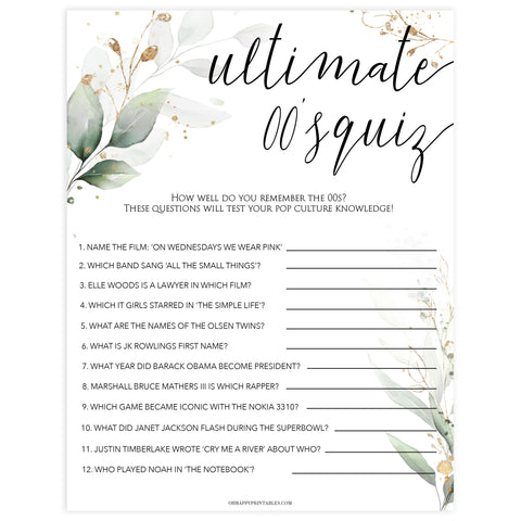 ultimate 00s quiz game, Printable bridal shower games, greenery bridal shower, gold leaf bridal shower games, fun bridal shower games, bridal shower game ideas, greenery bridal shower