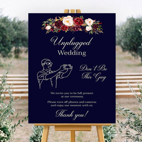 Unplugged Wedding Don't Be This Guy Wedding sign Marsala