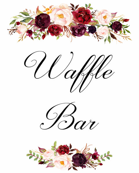 Waffle bar burgundy marsala wedding sign