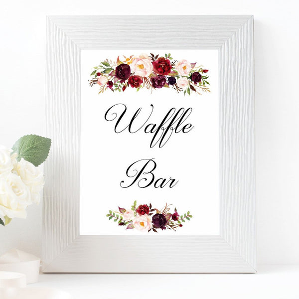 Waffle bar burgundy marsala wedding sign printable
