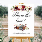 Share The Love Marsala White Hashtag Sign wedding