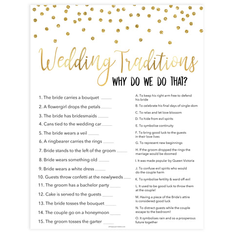 wedding traditions bridal game, Printable bridal shower games, gold glitter bridal shower, gold glitter bridal shower games, fun bridal shower games, bridal shower game ideas, gold glitter bridal shower