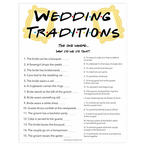 wedding traditions game, bridal traditions game, Printable bridal shower games, friends bridal shower, friends bridal shower games, fun bridal shower games, bridal shower game ideas, friends bridal shower