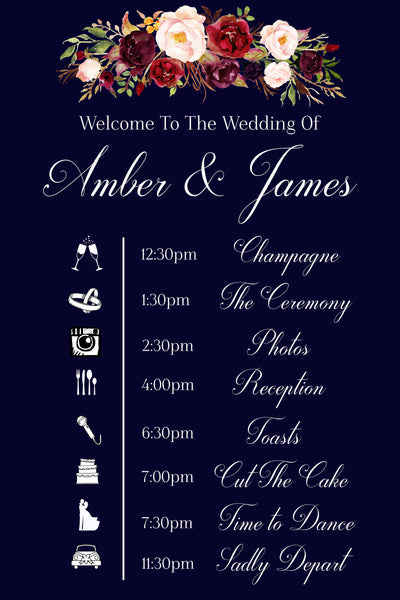 Wedding timeline sign in navy blue and marsala flowers