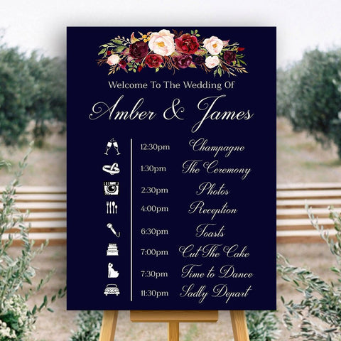 Wedding event timeline sign in navy blue with marsala flowers
