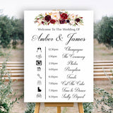 Wedding event timeline sign in white with marsala flowers
