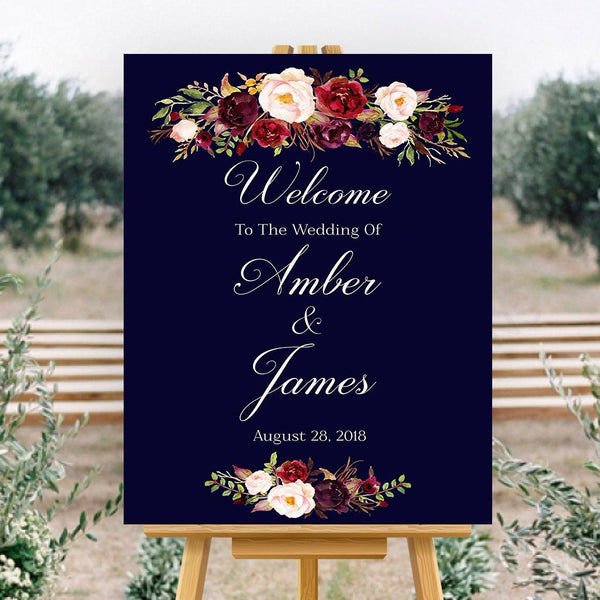 Marsala Wedding Welcome Sign Printable