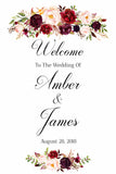 Welcome To Our Wedding Sign marsala floral White Sign