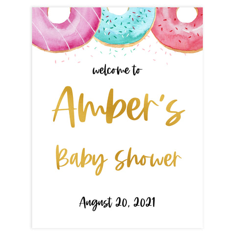 baby welcome sign, printable baby welcome signs, Printable baby shower games, donut baby games, baby shower games, fun baby shower ideas, top baby shower ideas, donut sprinkles baby shower, baby shower games, fun donut baby shower ideas