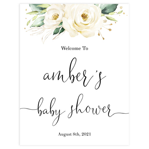 baby shower welcome sign, White floral baby decor, printable baby table signs, printable baby decor, baby safari animals table signs, fun baby signs, baby safari animals fun baby table signs