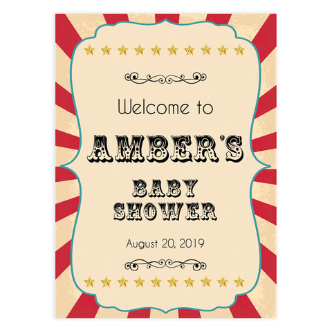baby shower welcome sign, circus baby shower signs, printable baby shower signs, carnival baby shower signs