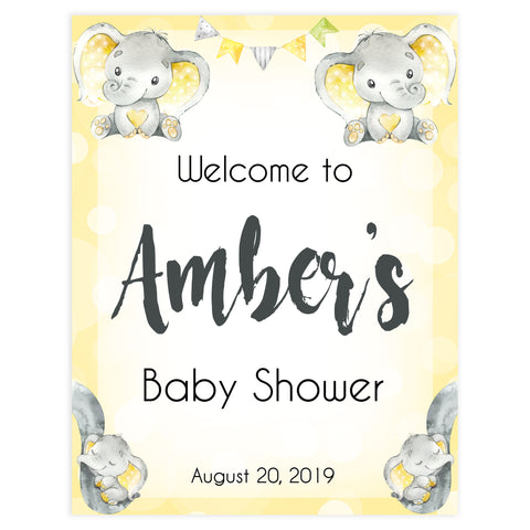 baby shower welcome sign, printable baby shower signs, baby welcome decor, yellow baby elephant baby shower, elephant baby shower