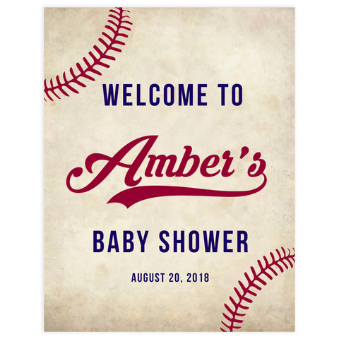 baseball baby welcome sign, printable baby shower welcome signs, little slugger baby decor, fun baby shower games, baseball baby decor