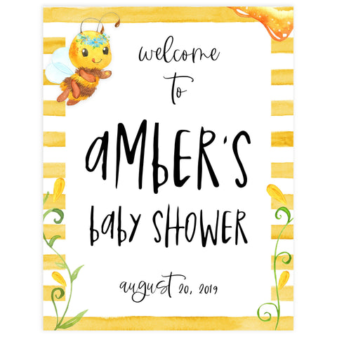 baby welcome signs, printable baby shower welcome sign, mommy to bee baby sign, mommy bee baby shower decor