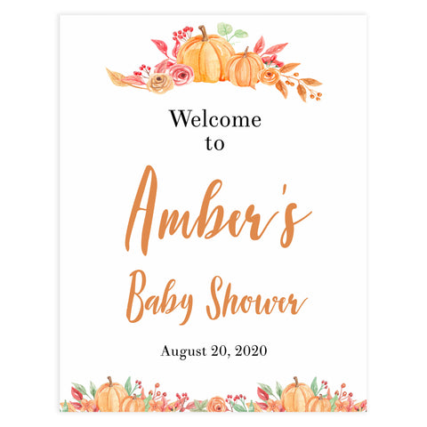 baby welcome sign, printable baby shower welcome sign, pumpkin baby shower decor, fall pumpkin baby shower ideas