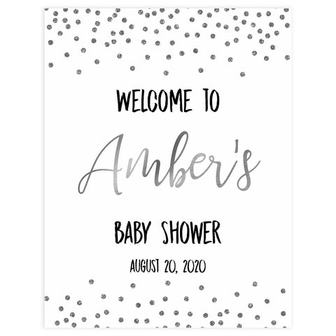 baby welcome sign, baby shower welcome sign, Baby silver glitter baby decor, printable baby table signs, printable baby decor, baby silver glitter table signs, fun baby signs, baby silver fun baby table signs