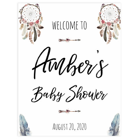 baby shower welcome sign, printable baby welcome signs, baby welcome table signs, boho baby shower decor, dreamcatcher baby decor
