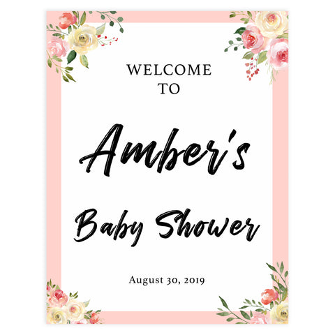 baby shower welcome signs, printable baby shower signs, spring floral baby shower, baby welcome decor, floral baby shower