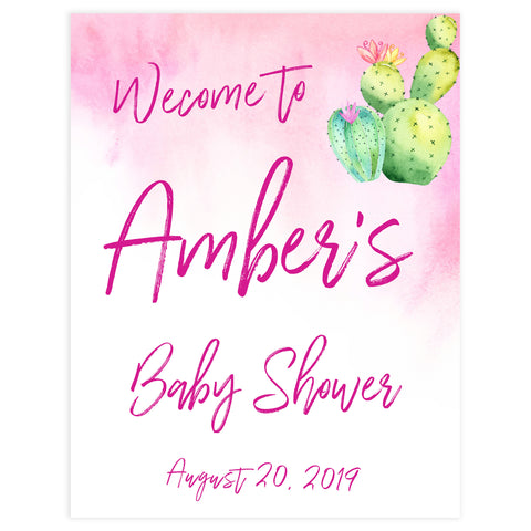 baby welcome signs, printable baby welcome signs, cactus baby shower, cactus fiesta baby shower sign,