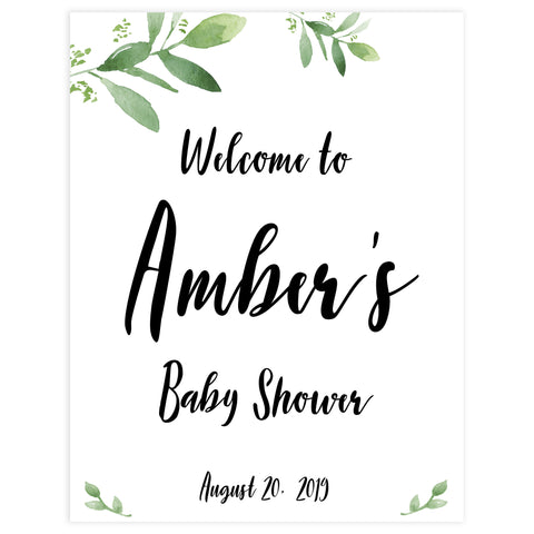 botanical baby shower welcome signs, printable baby shower welcome sign, botanical baby shower decor, floral baby shower ideas
